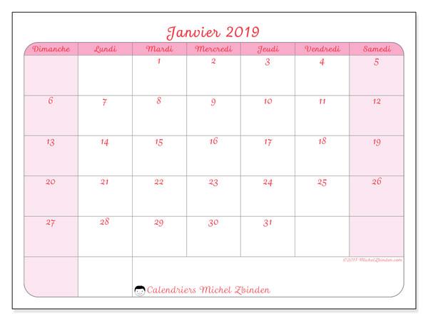 Calendrier janvier 2019, 63DS. Calendrier pour le mois à imprimer gratuit.