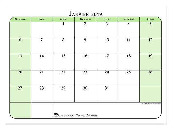 Calendrier A Imprimer Janvier 2019.Calendrier Janvier 2019 65ds Michel Zbinden Fr