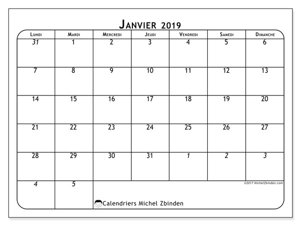 Calendriers janvier 2019 (LD).  67LD.