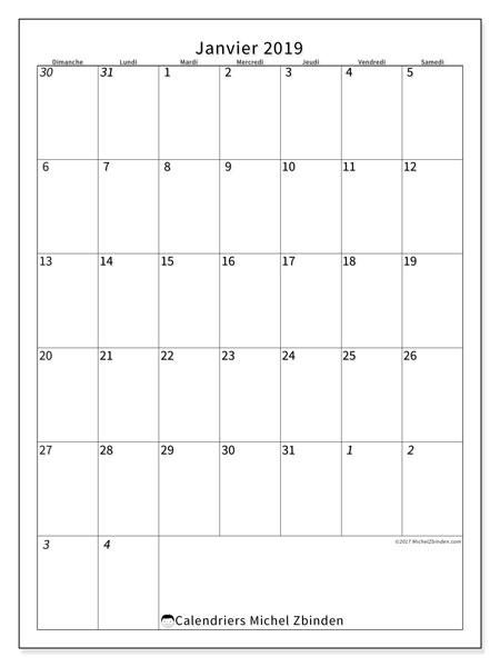 Calendrier janvier 2019 (68DS). Planificateur à imprimer gratuit.