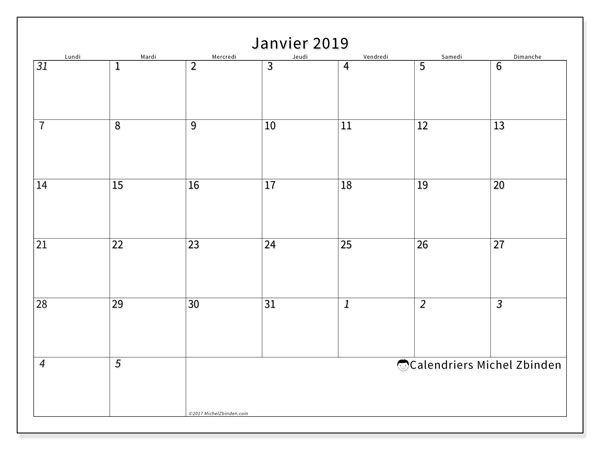 Calendriers janvier 2019 (LD).  70LD.