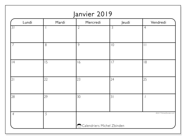 Calendriers janvier 2019 (LD).  74LV.