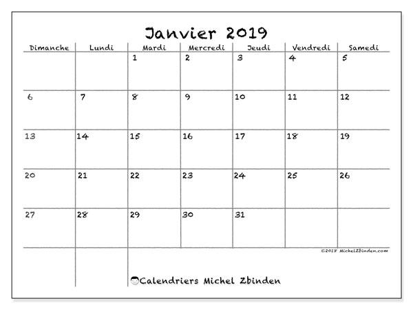 Calendrier A Imprimer Janvier 2019.Calendrier Janvier 2019 77ds Michel Zbinden Fr