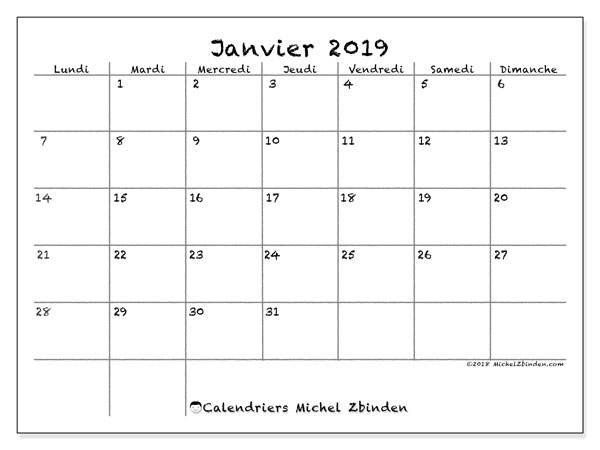 Calendriers janvier 2019 (LD).  77LD.