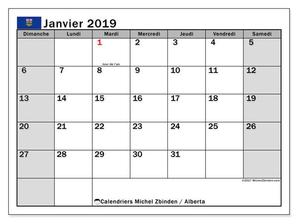 Calendrier janvier 2019, avec les jours fériés de l'Alberta. Planificateur à imprimer gratuit.