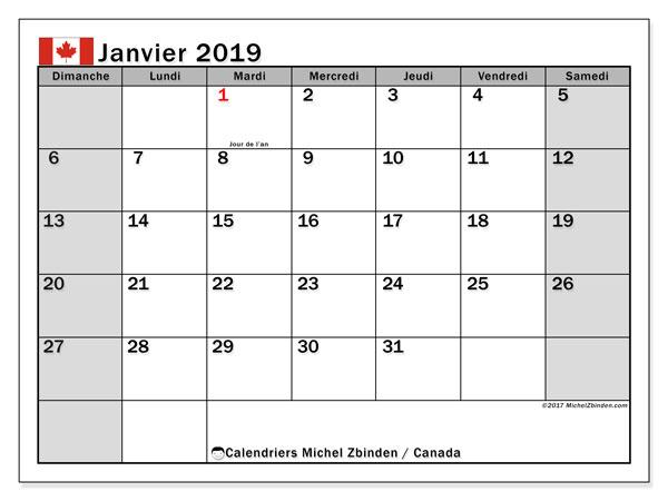 Calendrier janvier 2019, avec les jours fériés du Canada. Calendrier imprimable gratuit.