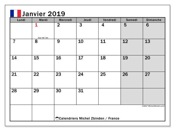 Calendrier janvier 2019, avec les jours fériés de la France.. Calendrier imprimable gratuit.