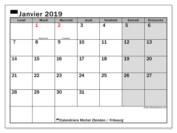 Calendrier Fribourg, 2019