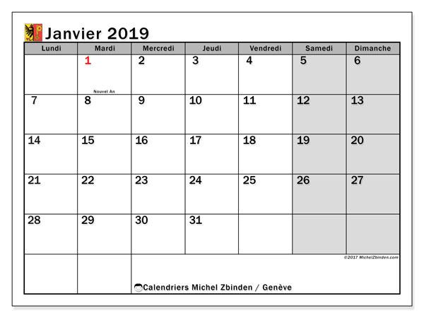 Calendrier janvier 2019, avec les jours fériés du Canton de Genève. Planificateur à imprimer gratuit.