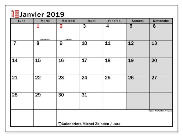 Calendrier janvier 2019, avec les jours fériés du Canton du Jura. Calendrier à imprimer gratuit.