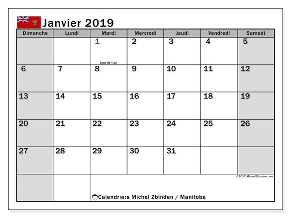 Calendrier janvier 2019, avec les jours fériés du Manitoba. Calendrier imprimable gratuit.