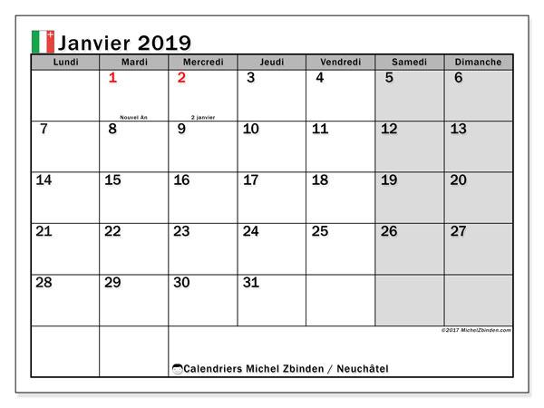 Calendrier janvier 2019 - Neuchâtel. Calendrier à imprimer : jours fériés officiels.