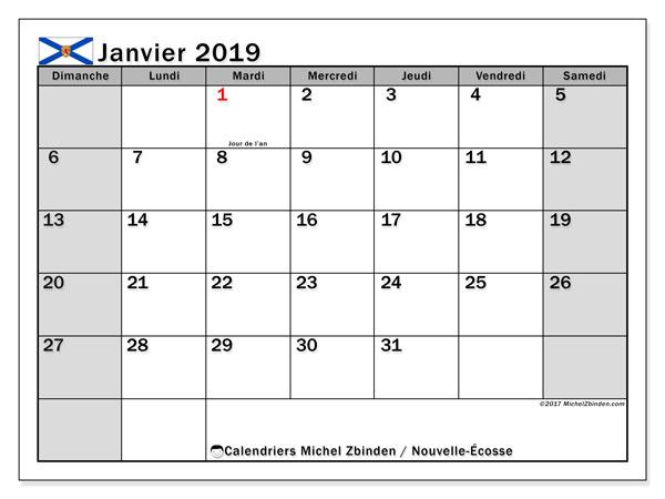 Calendrier janvier 2019, avec les jours fériés de la Nouvelle-Écosse. Organisateur à imprimer gratuit.