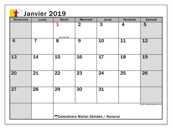 Calendrier janvier 2019, avec les jours fériés du Nunavut. Calendrier mensuel à imprimer gratuit.