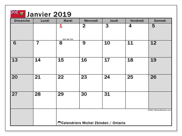 Calendrier janvier 2019, avec les jours fériés de l'Ontario. Calendrier à imprimer gratuit avec jours fériés.