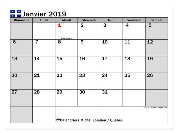 Calendrier janvier 2019 - Québec. Calendrier à imprimer : fêtes et jours fériés.