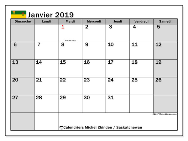 Calendrier janvier 2019, avec les jours fériés de la Saskatchewan. Calendrier à imprimer gratuit.