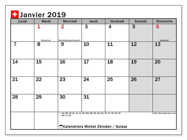 Calendrier janvier 2019, avec les jours fériés de la Suisse. Planificateur à imprimer gratuit.