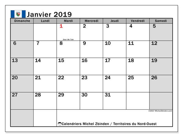 Calendrier janvier 2019, avec les jours fériés des Territoires du Nord-Ouest. Calendrier mensuel à imprimer gratuit.