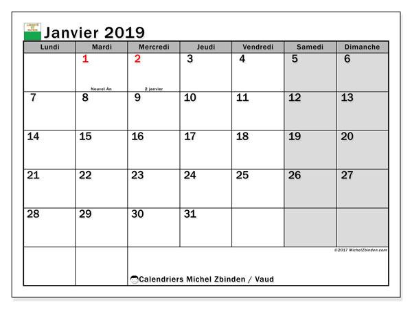 Calendrier janvier 2019, avec les jours fériés du Canton de Vaud. Calendrier Fêtes et jours fériés à imprimer gratuit.