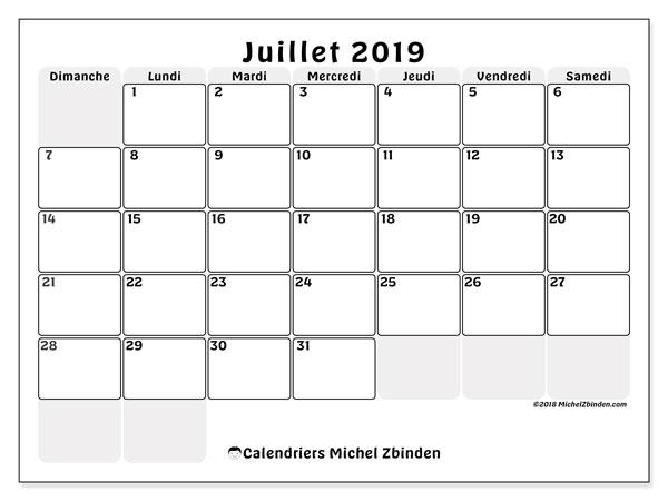 Calendrier juillet 2019, 44DS. Calendrier gratuit à imprimer.