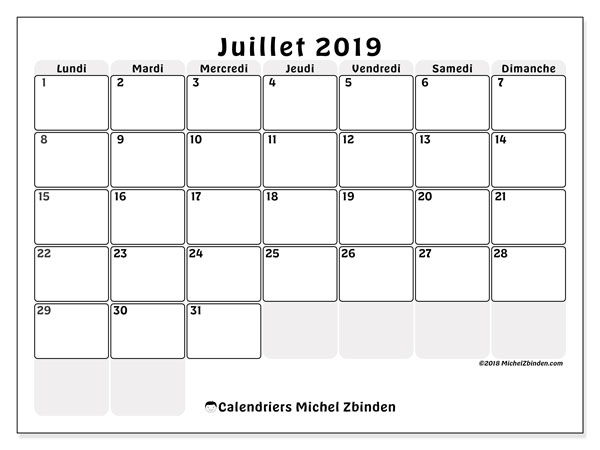 Calendriers juillet 2019 (LD).  44LD.
