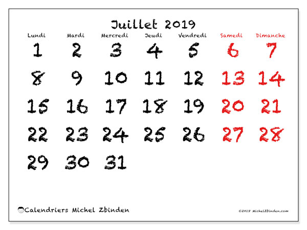 Calendriers juillet 2019 (LD).  46LD.