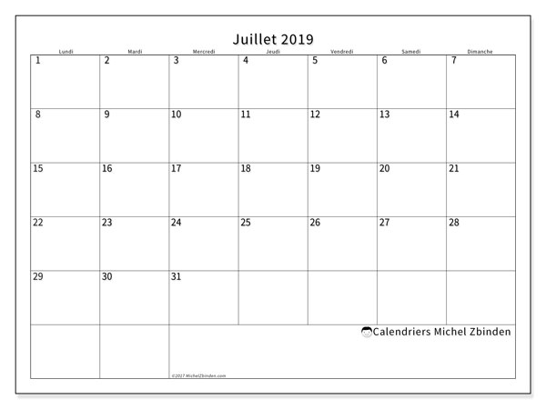 Calendriers juillet 2019 (LD).  53LD.