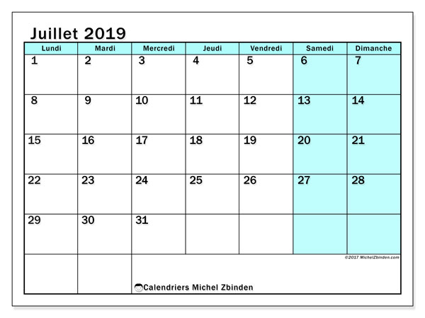 Calendriers juillet 2019 (LD).  59LD.