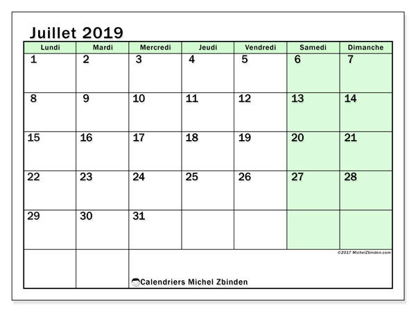 Calendriers juillet 2019 (LD).  60LD.