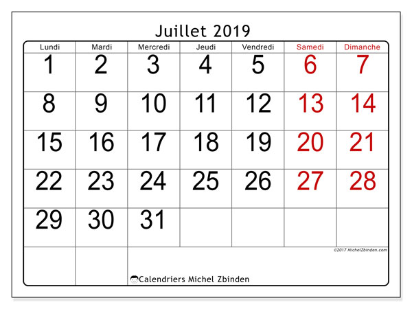 Calendriers juillet 2019 (LD).  62LD.