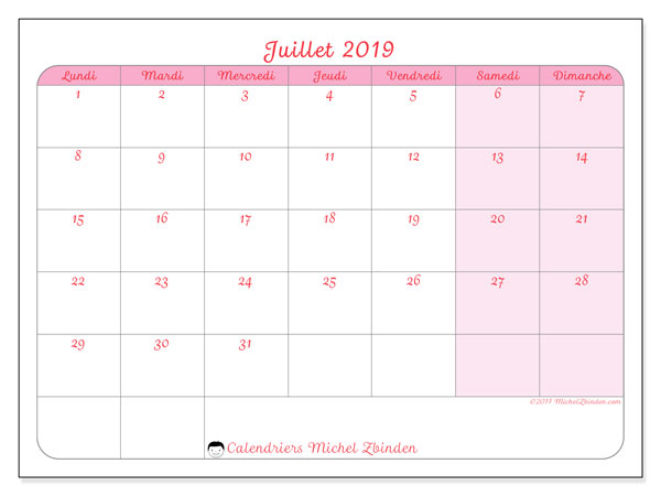 Calendriers juillet 2019 (LD).  63LD.