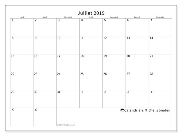 Calendriers juillet 2019 (LD).  70LD.