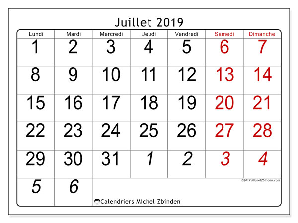 Calendriers juillet 2019 (LD).  72LD.