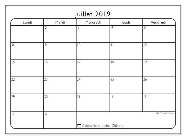 Calendrier juillet 2019, 74DS. Calendrier imprimable gratuit.