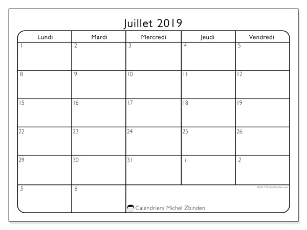 Calendriers juillet 2019 (LD).  74LD.
