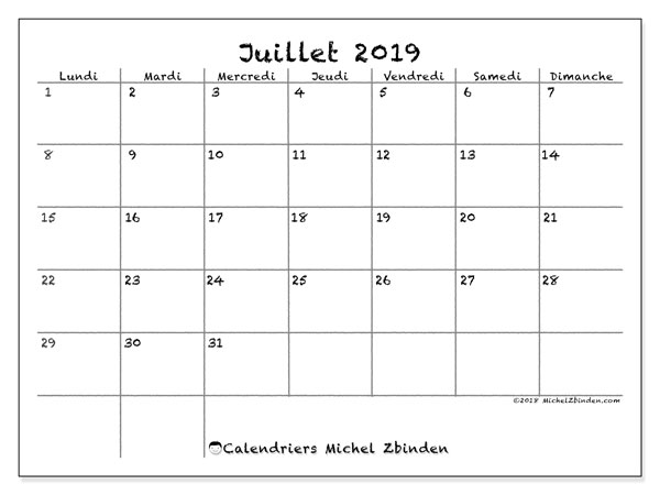 Calendriers juillet 2019 (LD).  77LD.
