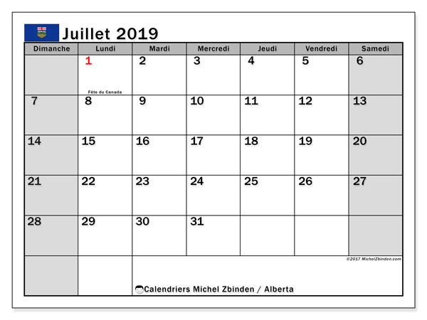 Calendrier juillet 2019, avec les jours fériés de l'Alberta. Calendrier gratuit à imprimer.