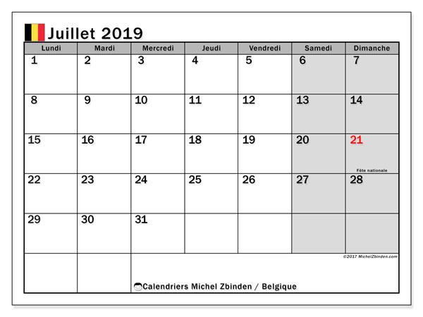 Calendrier juillet 2019, avec les jours fériés de la Belgique. Calendrier imprimable gratuit.