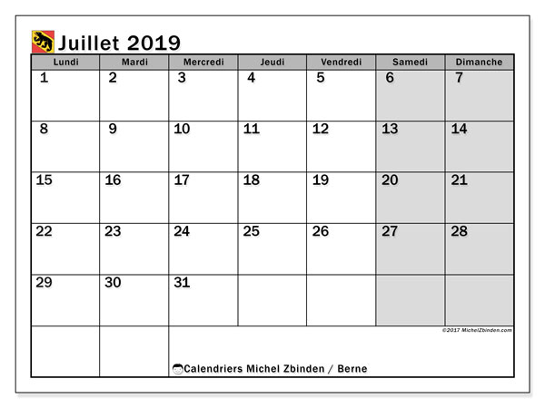 Calendrier juillet 2019, avec les jours fériés du Canton de Berne. Calendrier mensuel à imprimer gratuit.