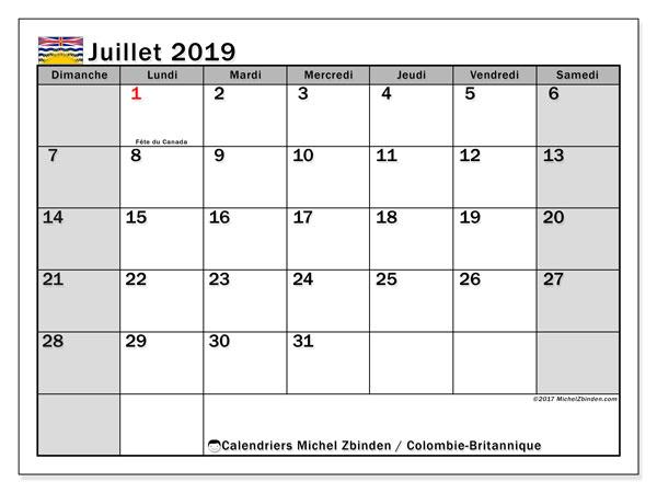Calendrier juillet 2019 - Colombie-Britannique. Calendrier à imprimer : jours fériés officiels.