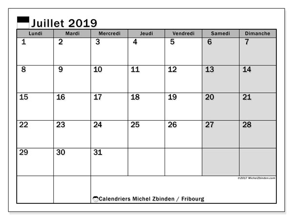 Calendrier Fribourg, juillet 2019