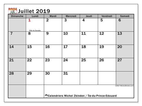 Calendrier juillet 2019, avec les jours fériés de l'Île-du-Prince-Edouard. Calendrier mensuel à imprimer gratuit.
