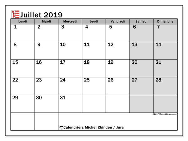 Calendrier juillet 2019, avec les jours fériés du Canton du Jura. Calendrier imprimable gratuit.
