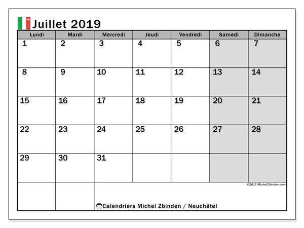 Calendrier juillet 2019, avec les jours fériés du Canton de Neuchâtel. Planificateur à imprimer gratuit.