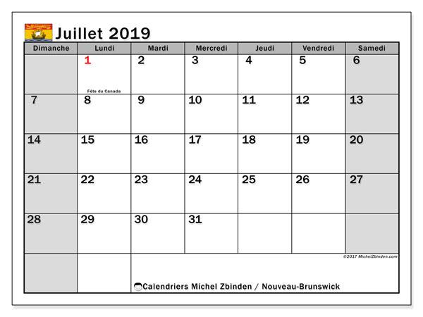 Calendrier juillet 2019, avec les jours fériés du Nouveau-Brunswick. Calendrier pour le mois à imprimer gratuit.
