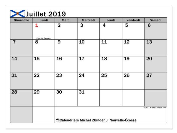 Calendrier juillet 2019, avec les jours fériés de la Nouvelle-Écosse. Calendrier à imprimer gratuit.