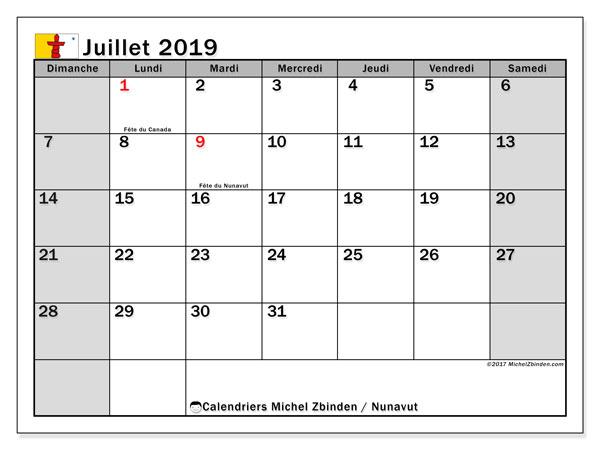 Calendrier juillet 2019 - Nunavut. Calendrier à imprimer : jours fériés officiels.
