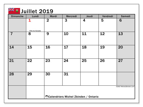 Calendrier juillet 2019, avec les jours fériés de l'Ontario. Calendrier gratuit à imprimer.