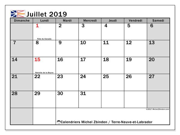 Calendrier juillet 2019 - Terre-Neuve-et-Labrador. Calendrier à imprimer : fêtes et jours fériés.